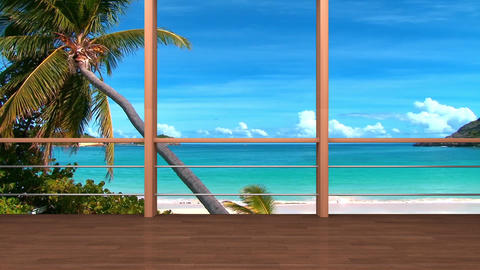 05HDTV Morning News Virtual Studio Green Screen Background Meditation beach Animation