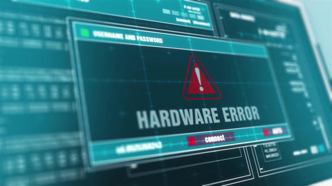 Hardware Error Computer Screen Login And Password Alert Security Warning Animation