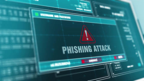 Phishing Attack Computer Screen Login And Password Alert Security Warning Animation