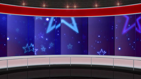 11HDTV entertaintment Virtual Studio Green Screen Background Red Blue Stars Animation