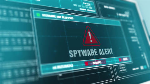 spyware alert Computer Screen Login And Password Alert Security Warning Animation