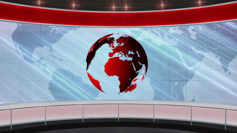 15HDTV News Virtual Studio Green Screen Background Red Globe Animation