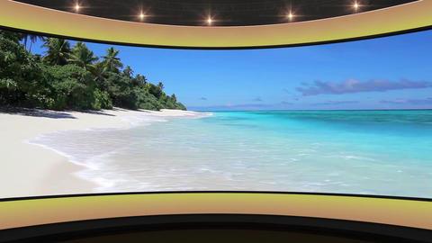 18HDTV News Virtual Studio Green Screen Background Yellow Clear Beach Animation
