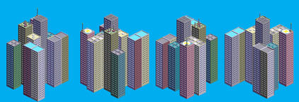 Isometric Skyscrapers Set Foto