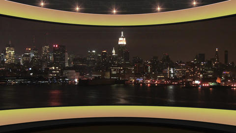 20HD News Virtual Studio Green Screen Background Yellow Cityscape Animation