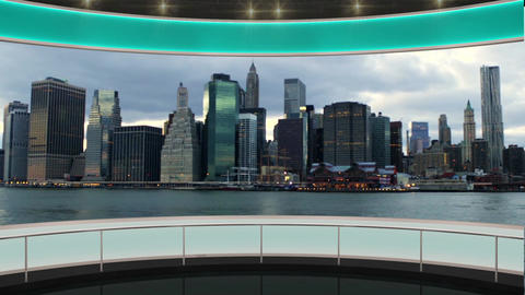 24HD News TV Virtual Studio Green Screen Background Green Cityscape Animation