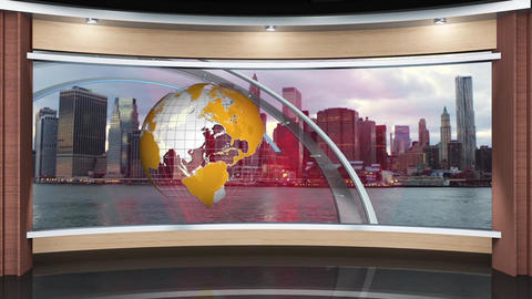 28HDTV News Virtual Studio Green Screen Background Wood Yellow Globe with Rings Animation