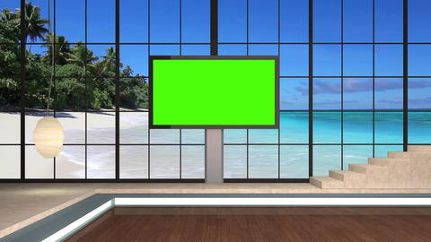 31HDTV News Virtual Studio Green Screen Background Beach Monitor Animation