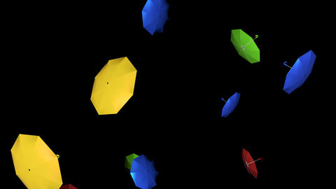 Cartoon 3d Flying Umbrellas Animation
