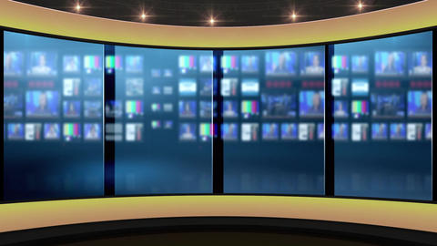 37HDTV News TalkshowVirtual Studio Green Screen Background Yellow ControlRoom CG動画素材