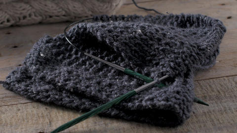 Knitting needles and yarn Footage