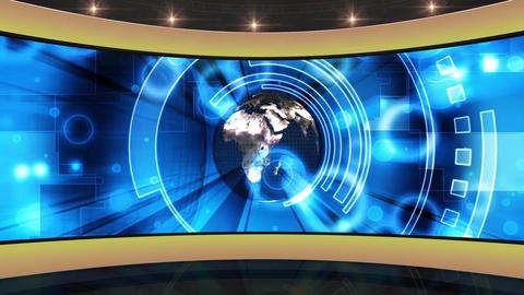 39HDTV News Virtual Studio Green Screen Background Yellow Blue Globe Animation