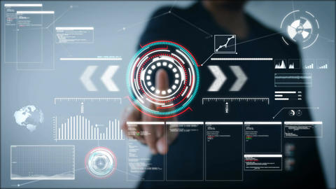 4K Business woman pointing finger on HUD And graph bar pi for Cyber futuristic