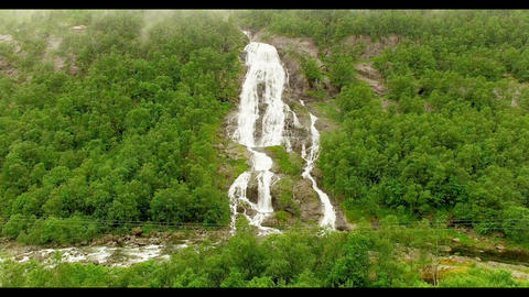 Norway. Norway. The picturesque waterfall Live Action
