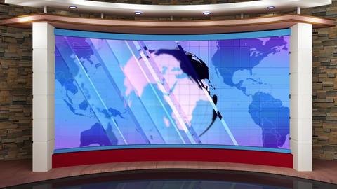 46HD News TV Virtual Studio Green Screen Glass Blue Globe Animation