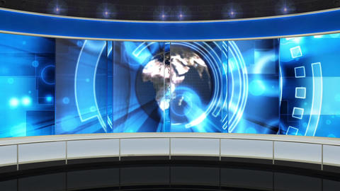 HDTV News Virtual Studio Green Screen Background Blue Globe Animation