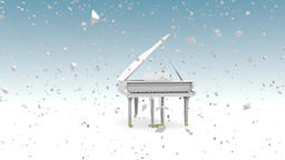 White grand piano with snowfall Animation