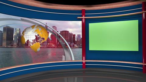 59HD News TV Virtual Studio Green Screen Background Blue Yellow Globe Animation