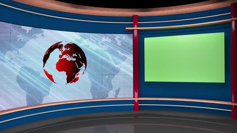 60HD News TV Virtual Studio Green Screen Background Blue Red Globe Animation