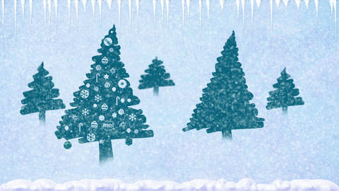Decorated Christmas trees in the snow with snowflakes falling and icicles Animation