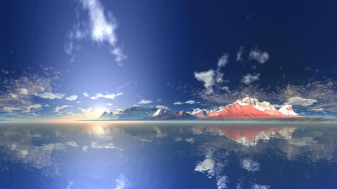Sunrise over the Mountain Lake Animation