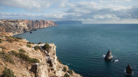 Seacoast view from high cliffs. Fiolent. Crimea Footage
