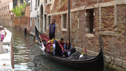 VENICE, ITALY - OCTOBER, 2017: Majestic canals in Venice, Venice, Italy. Gondola Footage