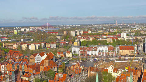 GDANSK, POLAND: Aerial panoramic view of Gdansk Footage