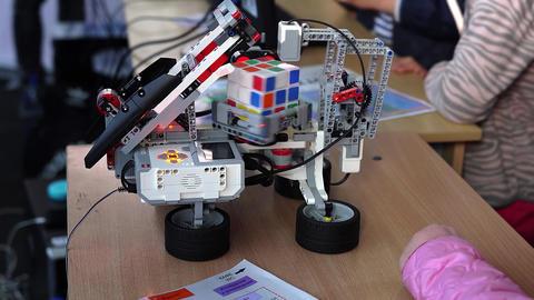 Minsk, Belarus: Robot solving Rubik's cube Footage