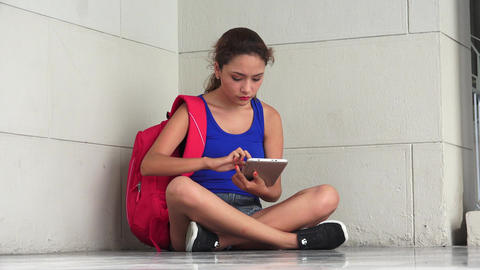 Sad Unhappy Female College Student With Tablet Live Action