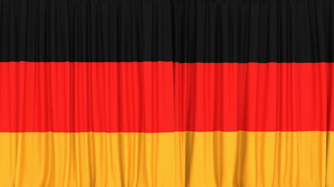 Realistic 3D animation of the National flag of Germany as the curtain Animation