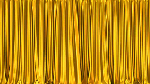 Metallic gold curtains realistic 3D animation with alpha matte Animation