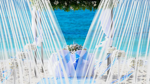 1080p of the wedding decorations at the white sand tropical beach Animation