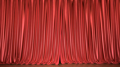 Theater stage red curtain 3D animation with alpha matte Animation