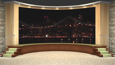 66HD News Talkshow TV Virtual Studio Green Screen Background Wood Nightcity Animation