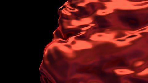 3D animation of the red silky waving cloth revealing the background Animation