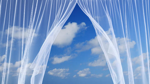 White sheer curtains against the blue cloudy sky Animation