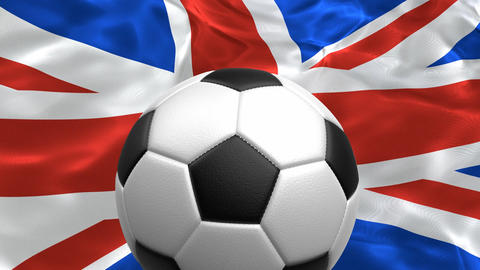 3D realistic looping animation of the soccer ball rotating against UK flag 애니메이션