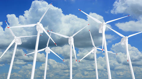 UHD 3D animation of the wind turbines farm against blue sky Animation