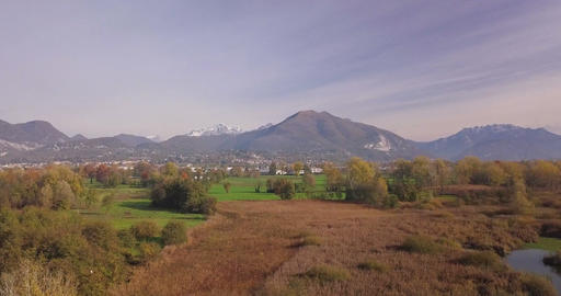 Northern Italy Alps Lowland Landscape Footage