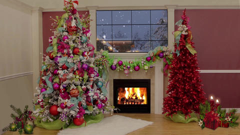 86HD Christmas TV Virtual Studio Green Screen Fireplace Xmas Tree Candles Animation