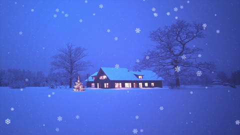 88HD Christmas TV Virtual Studio Green Screen Background Snowfall Winter CG動画素材