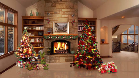 90HD Christmas TV Virtual Studio Green Screen Background Xmas Tree Fireplace Animation
