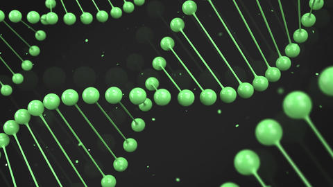 Gloss green model of DNA strand on black background Animation