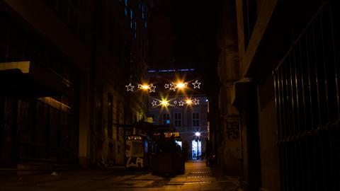 Street passage New Year decorations. Night フォト