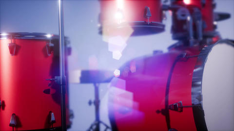 4k drum set with DOF and lense flair Footage