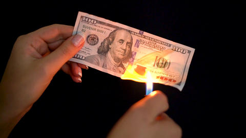 Burning dollars in a hand close-up on a black background Footage