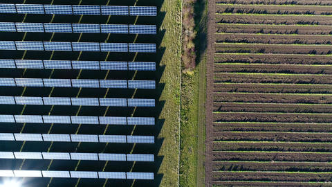 Aerial shot of photovoltaic power station - solar energy park Footage