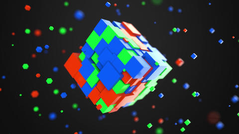 Multiple red, green and blue cubes rotating. RGB color model or 3D model Live Action
