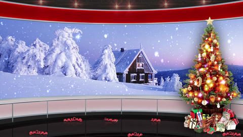 92HD Christmas TV Virtual Studio Green Screen Background Red Xmas Tree Snowfall Animation